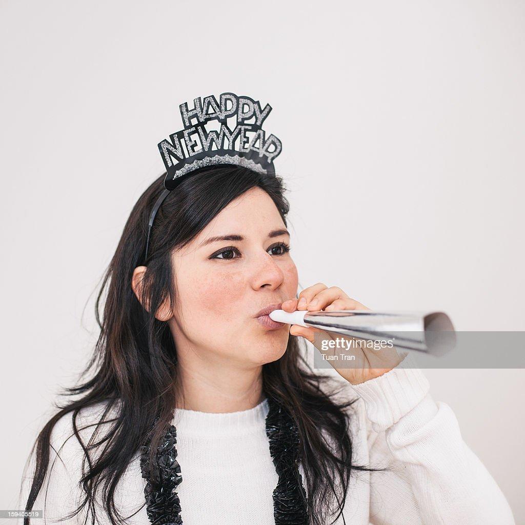 Portrait of woman celebration new years eve : Stock Photo