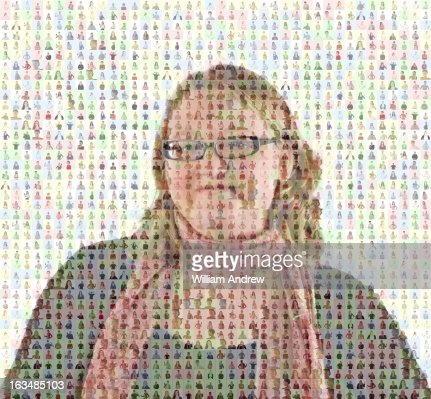 Portrait of woman composed of images