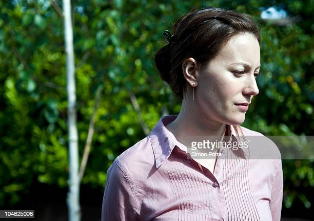 Portrait of woman deep in thought
