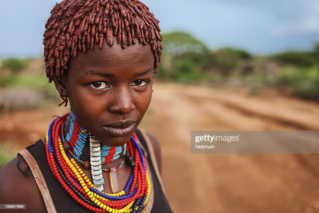 Portrait of woman from Hamer tribe, Ethiopia, Africa : Stock Photo
