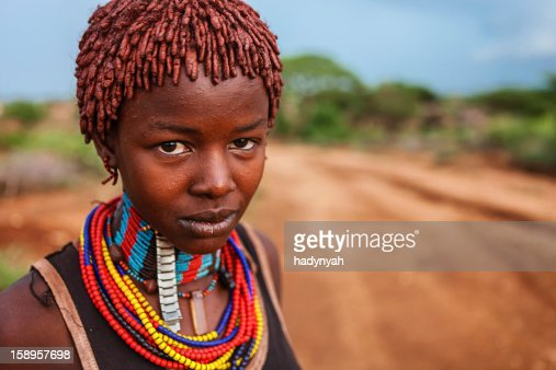 Portrait of woman from Hamer tribe, Ethiopia, Africa