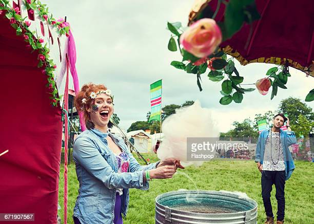 Portrait of woman having fun at a music festival