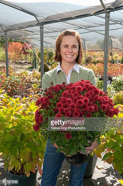 Portrait of woman holding Mum plant in greenhouse