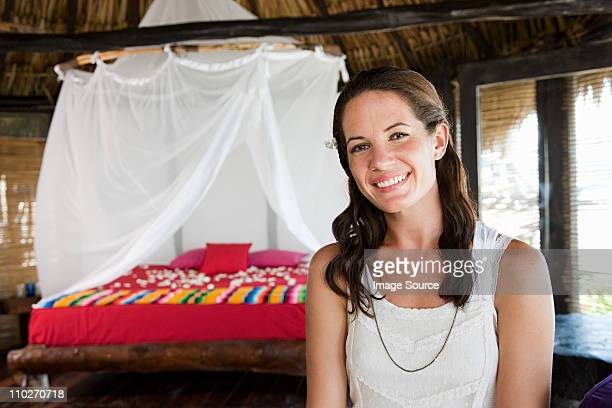 Portrait of woman in beach hut