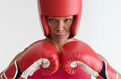 Portrait of woman in boxing gear