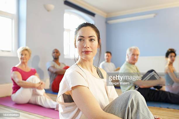 Portrait of woman in community exercise class