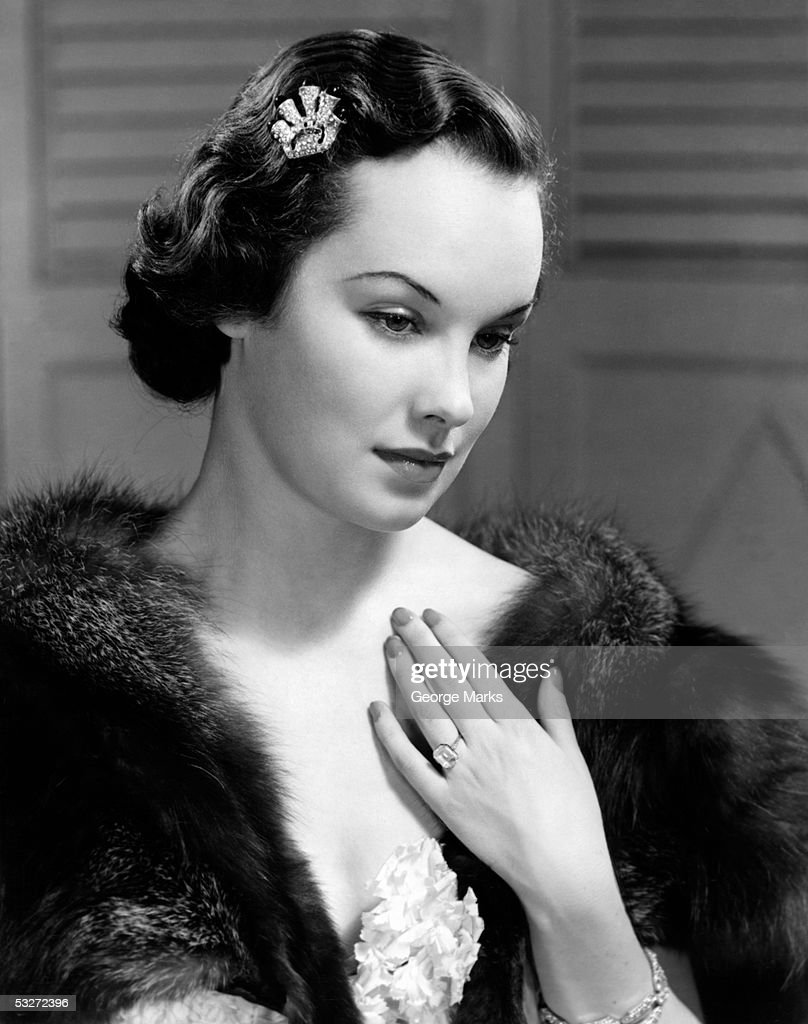 Portrait of woman in evening wear : Stock Photo