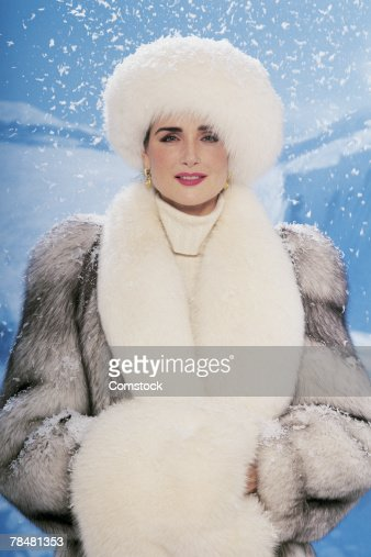 Portrait Of Woman In Fur Coat Stock Photo | Getty Images
