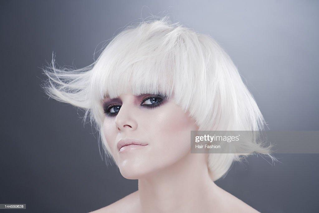 Portrait of woman in hair bob : Stock Photo