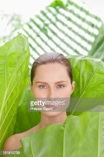 Portrait of woman in nature : Stock Photo