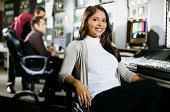 Portrait of woman in newsroom
