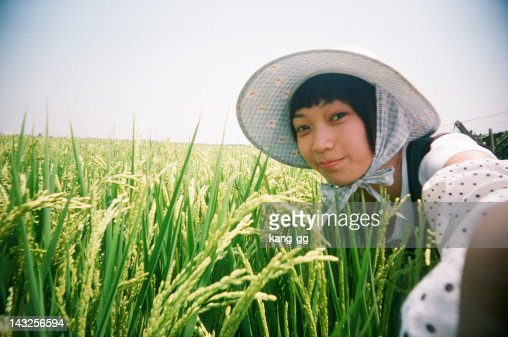 Portrait of woman in rice field : Stock Photo