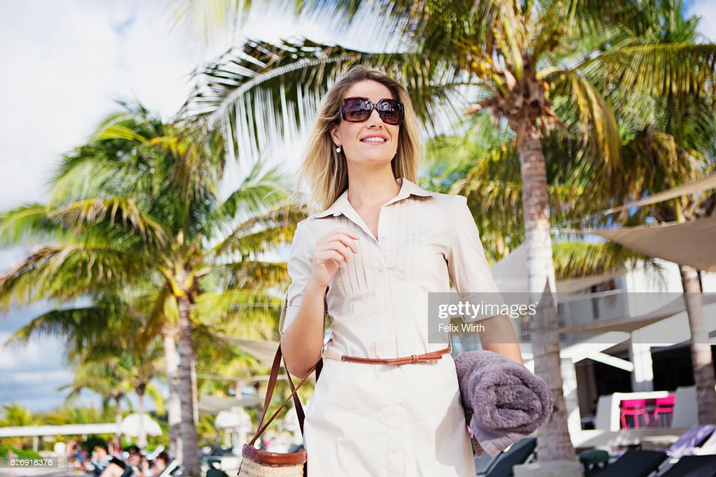 Portrait of woman in tourist resort : Bildbanksbilder