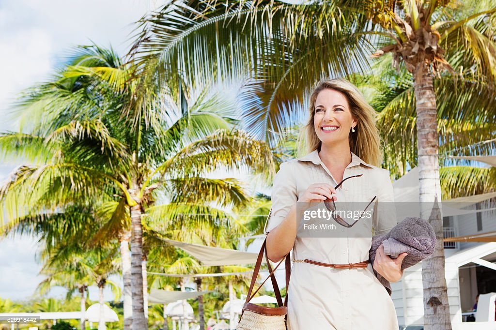 Portrait of woman in tourist resort : ストックフォト