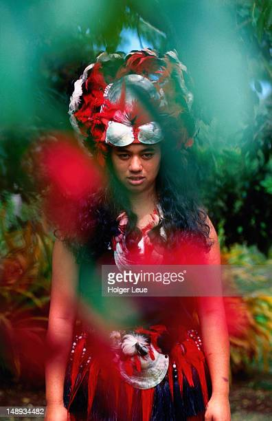 Portrait of woman in traditional attire, Cook Islands Cultural Village.