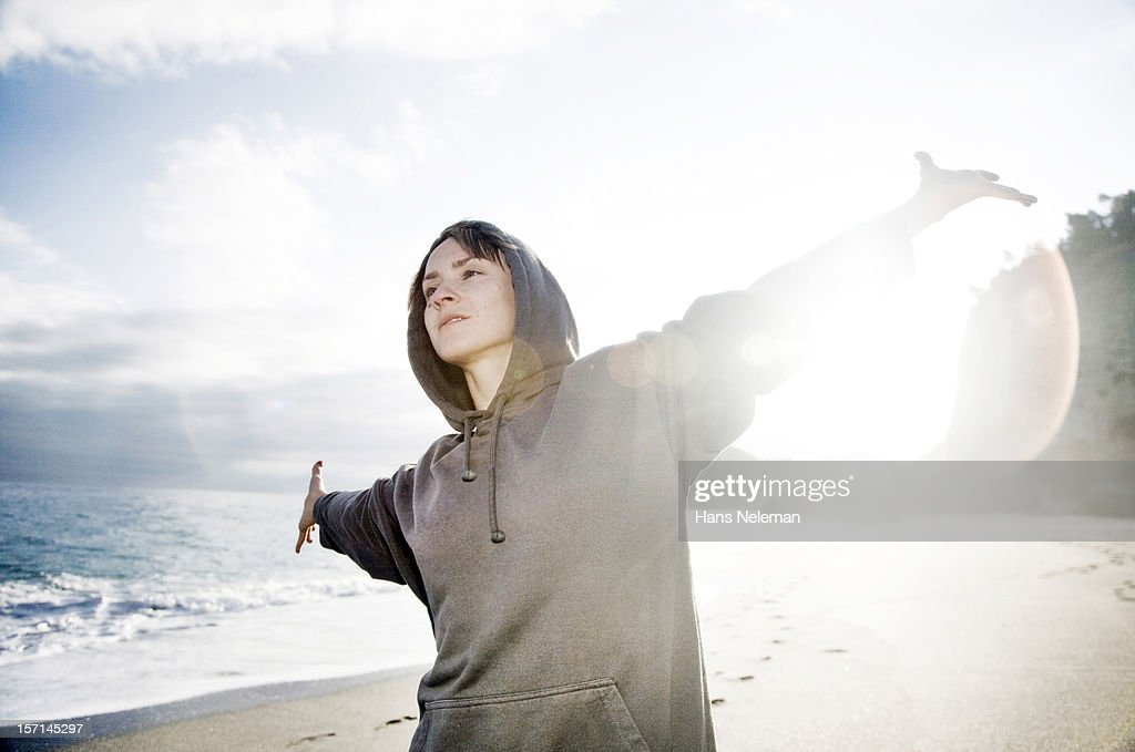 Portrait of woman on beach, Italy : Stock Photo