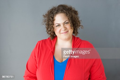 Portrait of woman on gray background. : Stock Photo