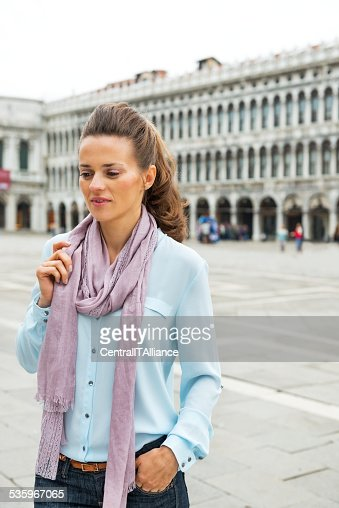 Portrait of woman on piazza san marco in venice, italy : Stock Photo