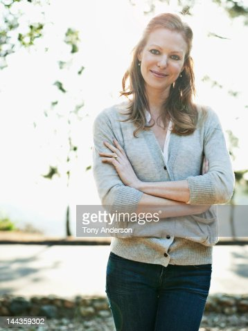 Portrait of woman outdoors : Stock Photo