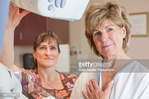 Portrait of woman ready for mammogram exam. : Stock Photo