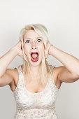 Portrait of woman screaming
