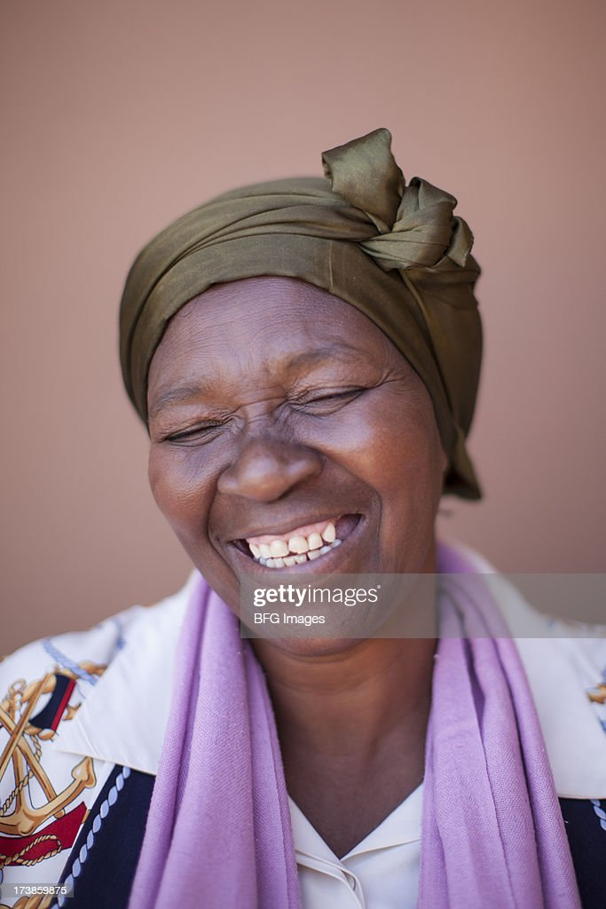 Portrait of woman smiling, Cape Town, South Africa : Stock Photo