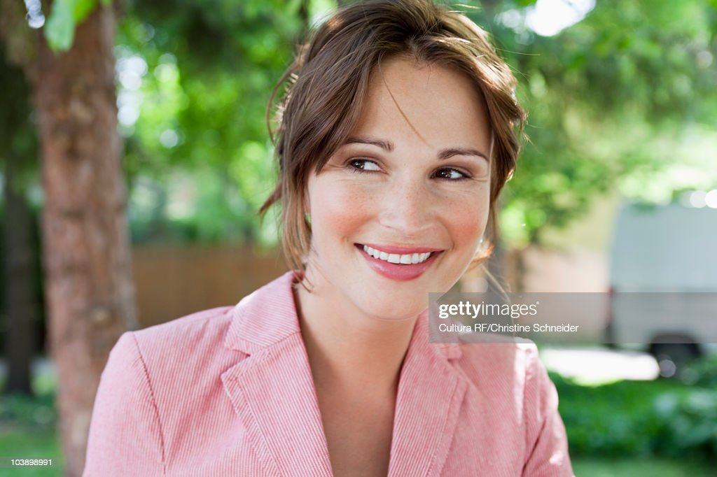 Portrait of woman smiling : Stock Photo