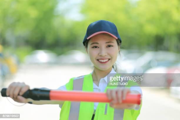 Portrait of  woman traffic guard