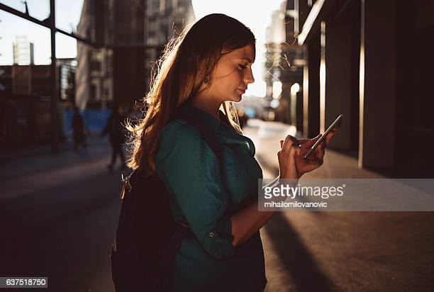 Portrait of woman using smartphone