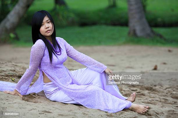 Portrait of woman wearing Ao Dai