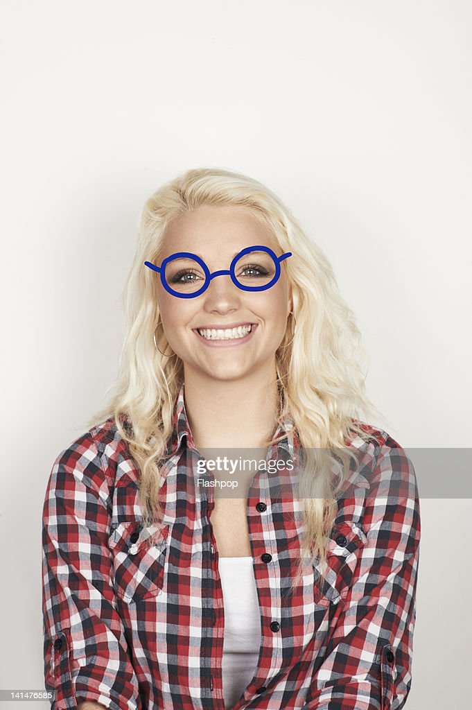 Portrait of woman wearing glasses : Stock Photo