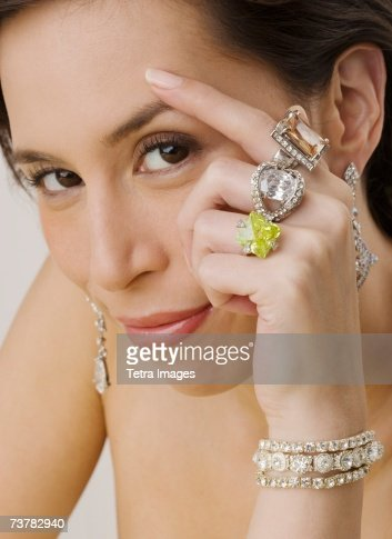 Portrait of woman wearing jewelry