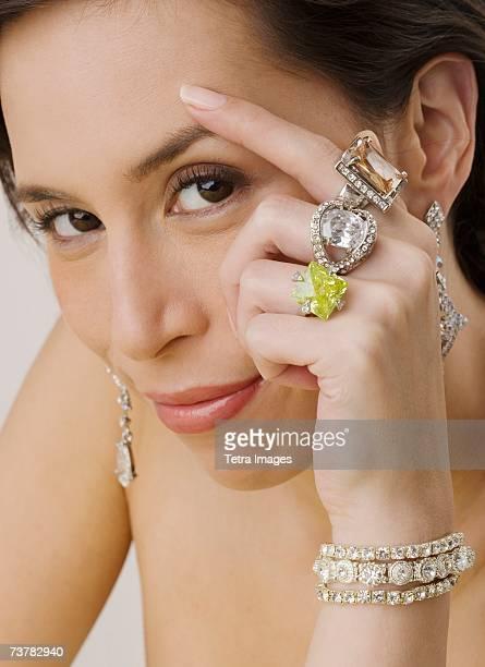Portrait of woman wearing jewelry