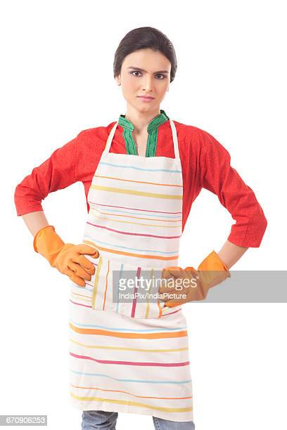 Portrait Of Woman Wearing Kitchen Apron
