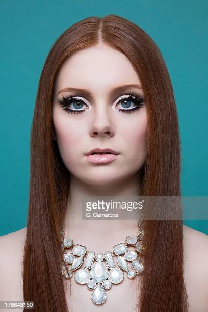 Portrait of woman wearing necklace