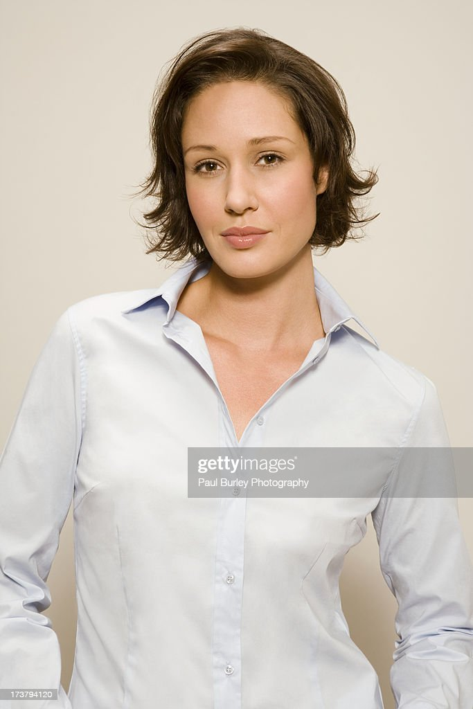 Portrait of woman with brown hair. : Stock Photo