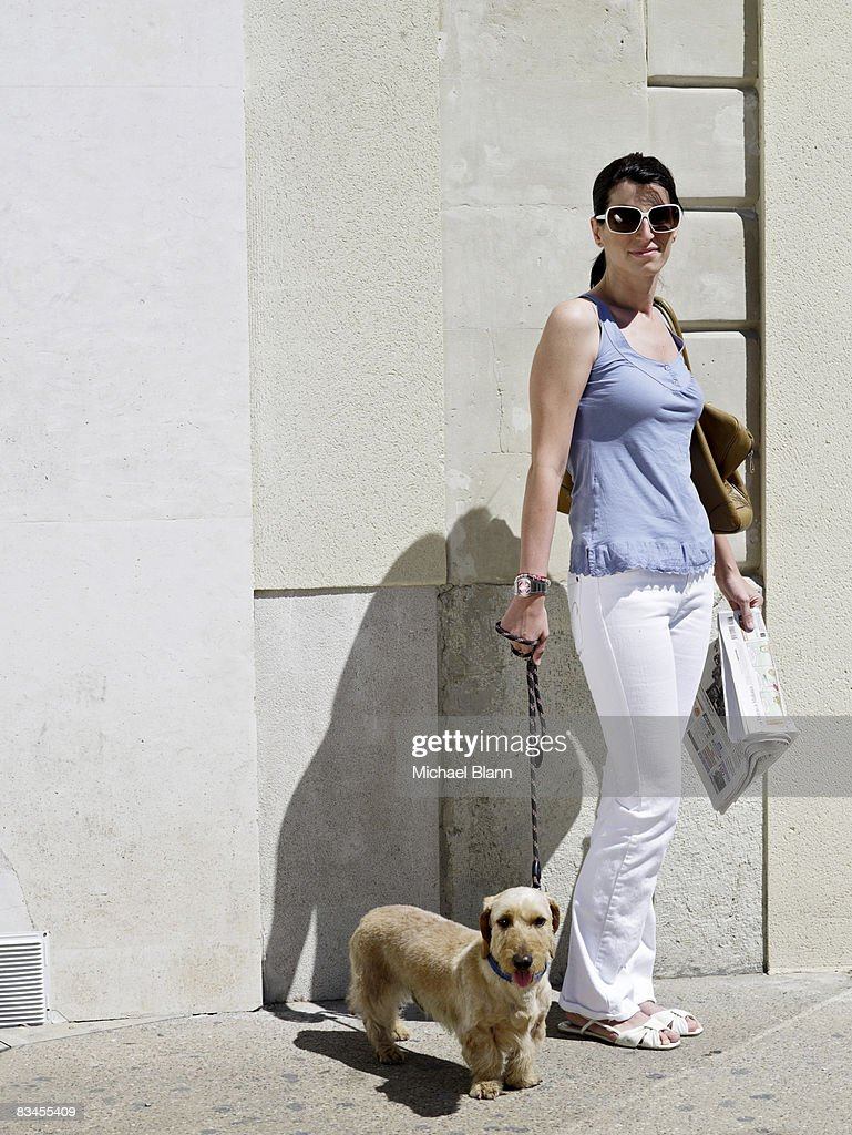 Portrait of woman with dog : Stock Photo