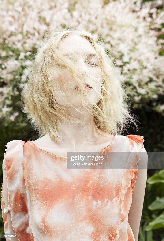 portrait of woman with hair blowing. : Stock Photo