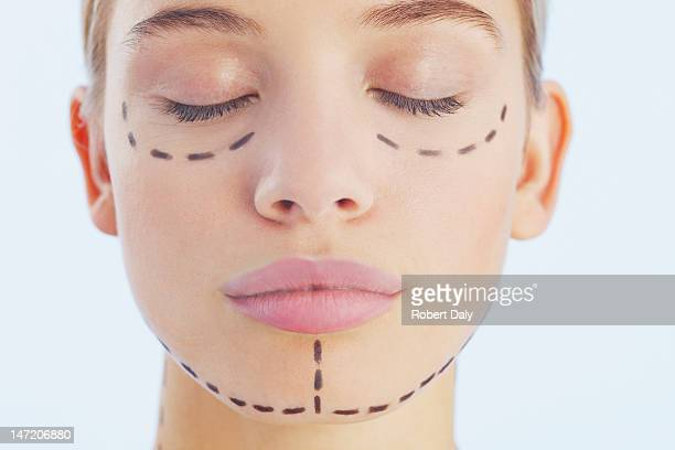 Portrait of woman with lines on her face
