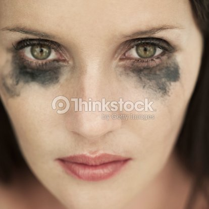 Portrait Of Woman With Running Eye Mascara Stock Photo ... Raccoon Eyes Makeup Crying