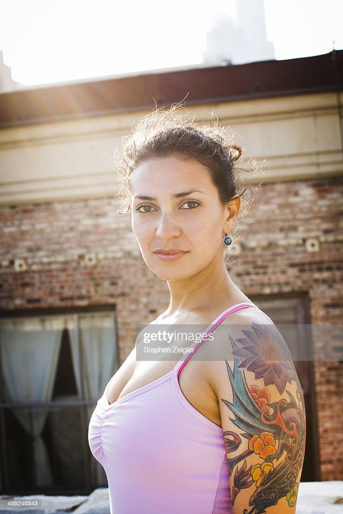 portrait of woman with tattoos : Stock Photo