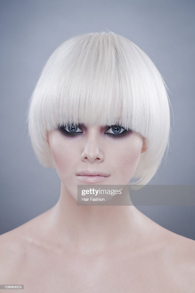 Portrait of woman with white hair : Stock Photo