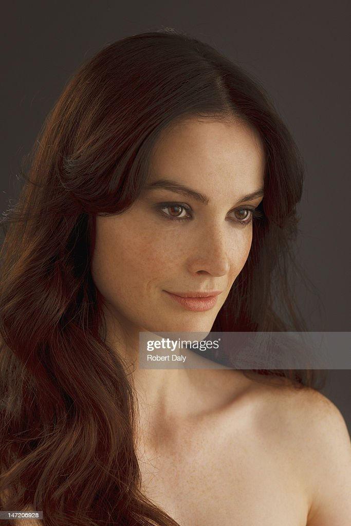 Portrait of woman woman with bare chest : Stock Photo