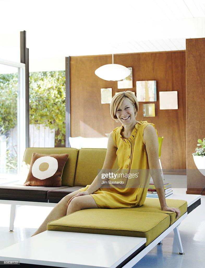 portrait of women in modern living room : Stock Photo