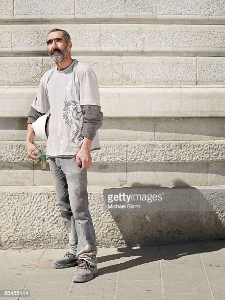 Portrait of work man in street
