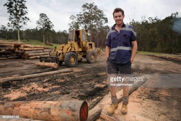 Portrait of worker at an Australian sawmill