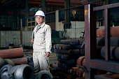 Portrait of worker in hydraulics factory