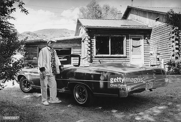 Portrait of writer journalist Hunter S Thompson outside his home Aspen Colorado 1994