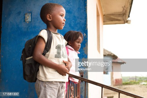 Portrait of Xhosa children getting ready for school