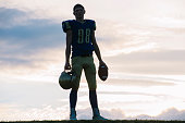Portrait of young american football player